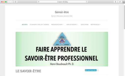 Accueil site privé Savoir-Être
